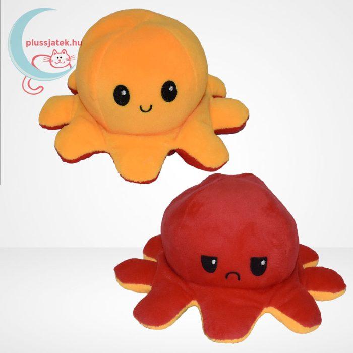 Kifordítható plüss hangulat polip (10 cm) - narancssárga és piros színű