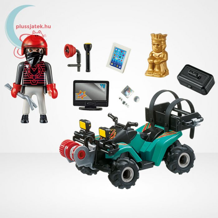 Playmobil - Műkincsrabló szuper quadján, csörlővel (City Action 6879), tartozékok