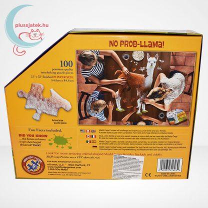 Wow poszter méretű forma puzzle - Láma, 100 db, hátulról
