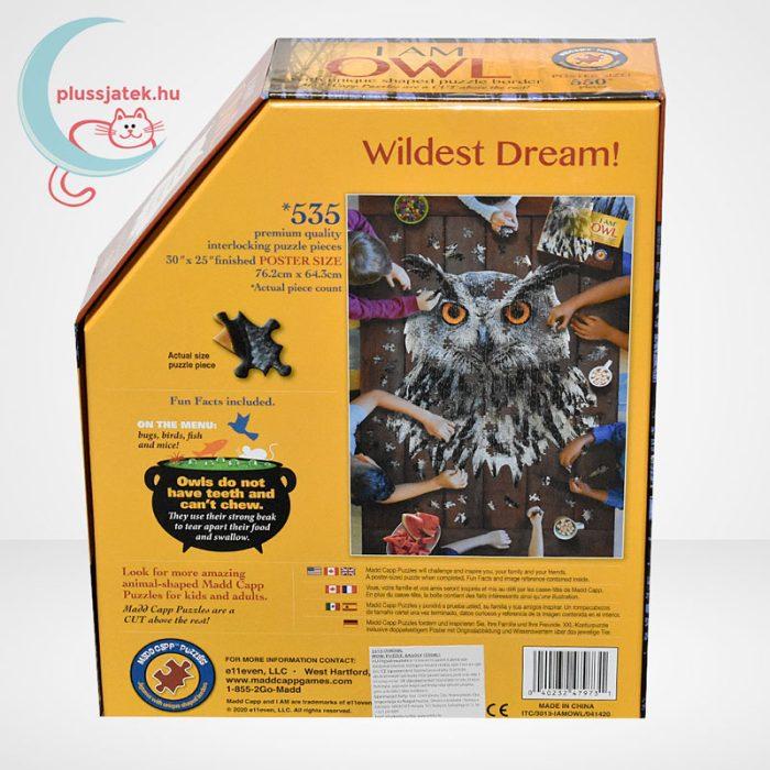 WOW poszter méretű forma puzzle – Bagoly, 550 db, játék hátulról