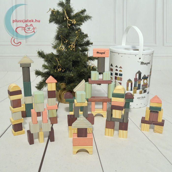 100 db-os építőkocka fából formaválogató dobozzal (Magni), szuper karácsonyi ajándék