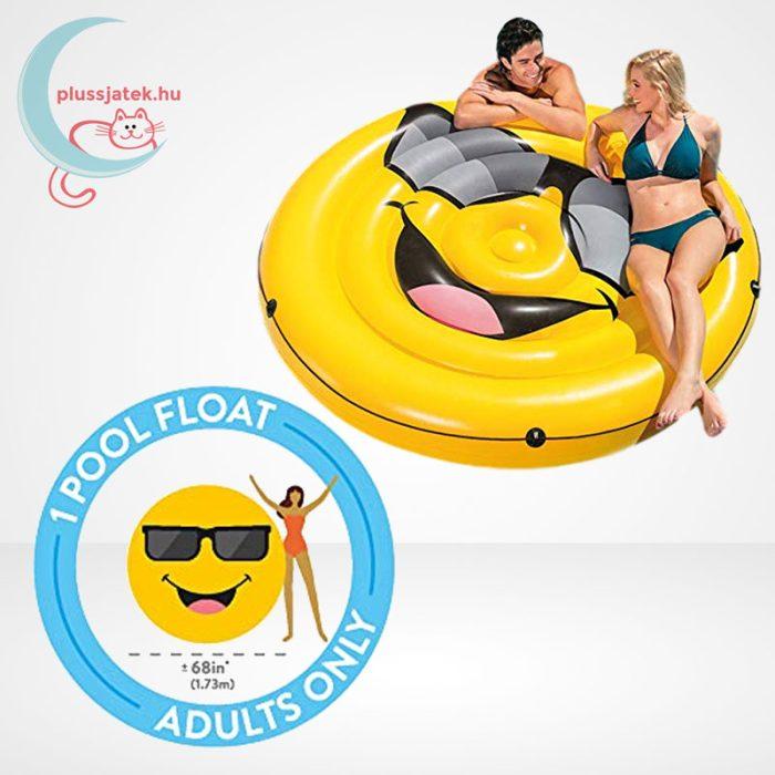 Cool Guy smiley felfújható (matrac) sziget körbefutó kötéllel, két személy is használjatja