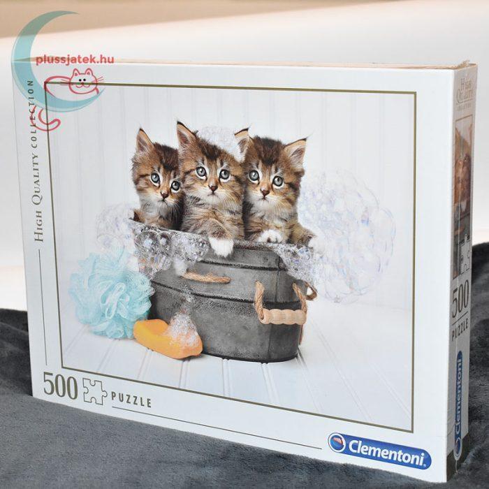 Kiscicák: cicamosdás – 500 db-os Clementoni puzzle (35065), balról