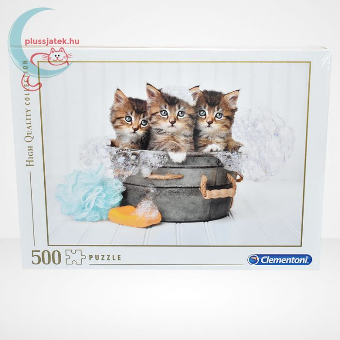 Kiscicák: cicamosdás – 500 db-os Clementoni puzzle (35065), szemből