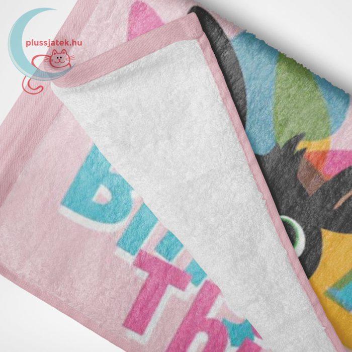 Bing - nyuszi mintás pamut strandtörölköző lányoknak - rózsaszín (70x140 cm), összehajtva