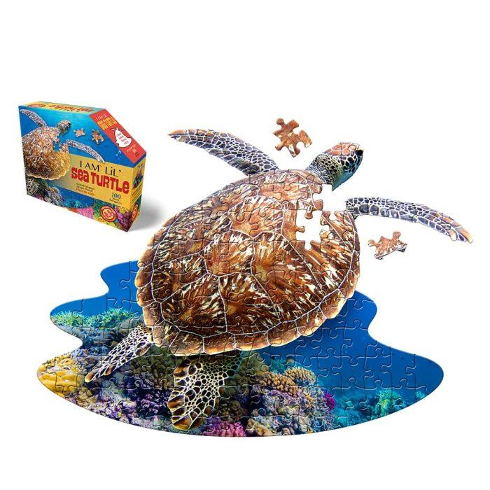 Wow poszter méretű forma puzzle - Teknős, 100 db, a kép és a doboz