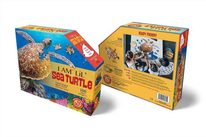 Wow poszter méretű forma puzzle - Teknős, 100 db, elölről, hátulról