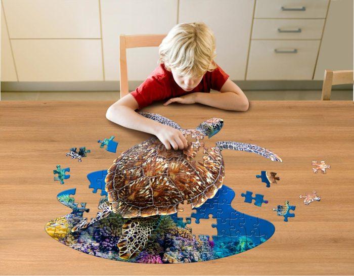 Wow poszter méretű forma puzzle - Teknős, 100 db, játék közben