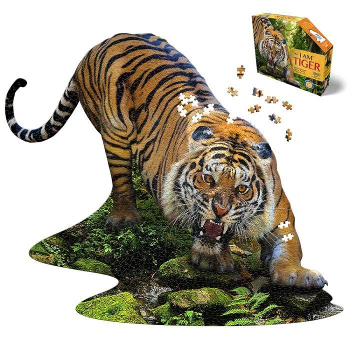 Wow poszter méretű forma puzzle - Tigris, 1000 db, a kép és a doboz