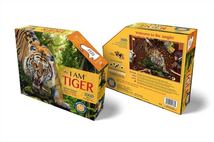 Wow poszter méretű forma puzzle - Tigris, 1000 db, elölről, hátulról