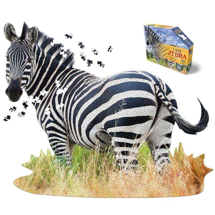 Wow poszter méretű forma puzzle - Zebra, 1000 db, a kép és doboza