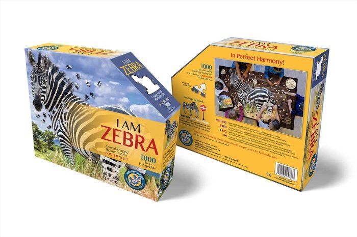 Wow poszter méretű forma puzzle - Zebra, 1000 db, elölről, hátulról