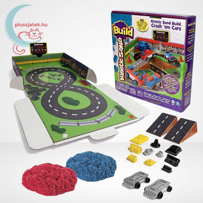 Kinetikus homok: autóverseny szett (Kinetic Sand Build: Crash em Cars), a doboz tartalma