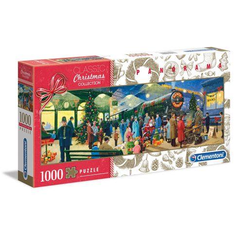 Télapó karácsonyi expressz vonata 1000 db-os panoráma puzzle (Clementoni, 39577)