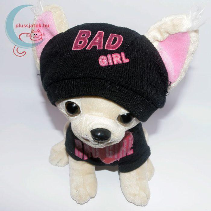 Bad Girl plüss csivava sapkában, pulóverben fentről