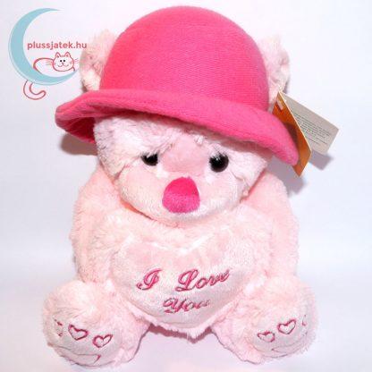 Kalapos rózsaszín szerelmes plüss maci