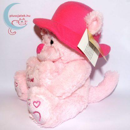 Kalapos rózsaszín szerelmes plüss maci balról