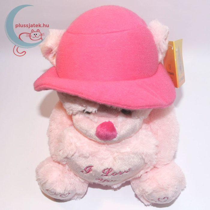 Kalapos rózsaszín szerelmes plüss maci felülről