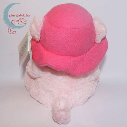 Kalapos rózsaszín szerelmes plüss maci hátulról