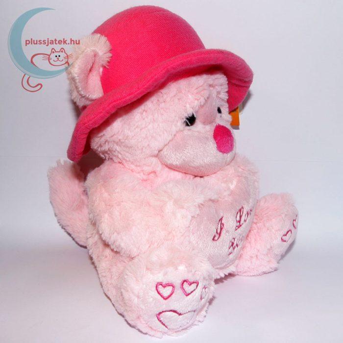 Kalapos rózsaszín szerelmes plüss maci jobbról