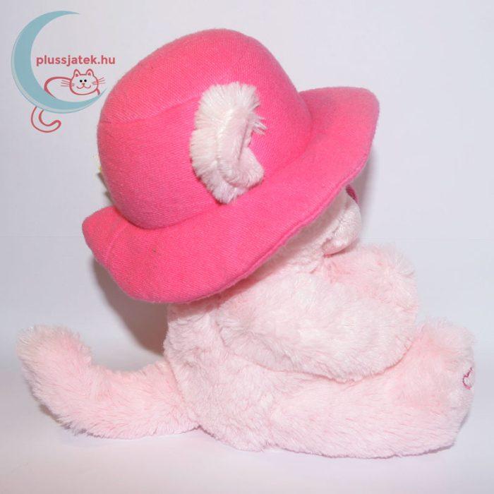 Kalapos rózsaszín szerelmes plüss maci oldalról