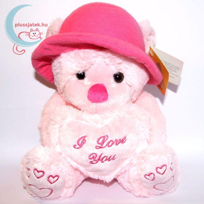Kalapos rózsaszín szerelmes plüss maci szemből