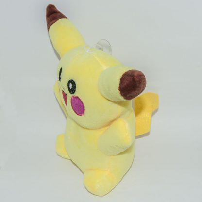 Nyitott szájú 18 cm-es pikachu pokémon plüss oldalról fényképezve