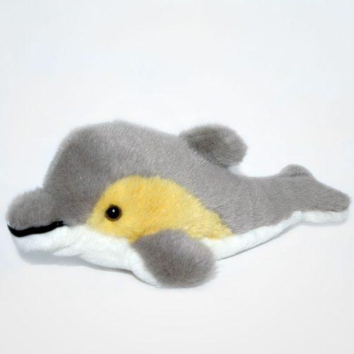 Szürke színű delfin plüss balról